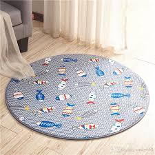 2019 ocean fish printed round bath mat diameter 60cm bathroom rugs doormat anti slip floor carpet for bedroom living room sofa balcony tapetes from cindy668
