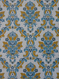 Vintage Medaillon Behang Blauw Geel Funkywalls Dé Webshop Voor