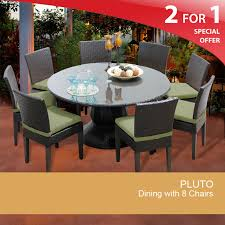pluto 60 inch outdoor patio dining table with 8 chairs design furnishings