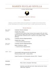 Customer Service Advisor Resume samples