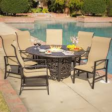 acadia 7 piece sling patio fire pit dining set by lakeview outdoor designs