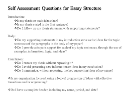 for academic english self assessment questions for essay  4 self assessment questions for essay