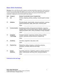 Transferable Skills Worksheet Transferable Skills Inventory Worksheet Template