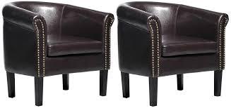 com homcom nailhead faux leather tub barrel club arm chair brown 2 pack kitchen dining
