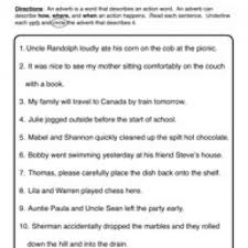 Adverb Worksheet 2 - Circle & Underline