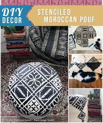 DIY Moroccan Decor: Stenciled Moroccan Pouf - Learn to Stencil Tutorial  with Royal Design Studio