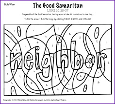 Small Picture The Good Samaritan Color by Number Kids Korner BibleWise