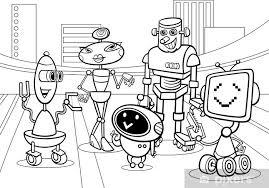 Fotobehang Robots Groep Cartoon Kleurplaat Pixers We Leven Om