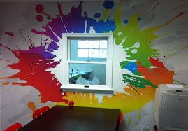splatter paint office wall mural