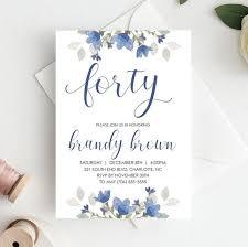 40th Birthday Invitation For Women Birthday 40th Elegant Birthday Invitations Template Download Floral 40th Birthday Invite Blue Flowers 40