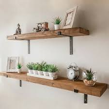 details about rustic wooden wall shelf large industrial wood metal floating shelf storage unit