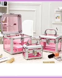 3 pcs set premium quality transpa cosmetic makeup box pink