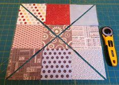How to make quilts with charm packs -clever trick. I have this on ... & Such a cute quilt that comes from sewing together squares like this and  then cutting them Adamdwight.com