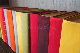 colorful old books stand in a row stock photo image of paper literature
