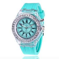 Buy Mens Geneva <b>diamond women</b> crystal 7 colors led light <b>watch</b> ...