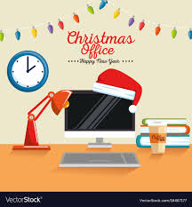 Merry Christmas Decorated Workplace Office Vector Image
