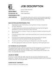 How To Write A Resume Job Description Gallery Of Job Descriptions For Resume Sales Associate Job 13