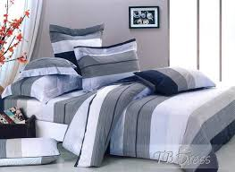 red bedding bedroom blue and grey