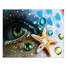 amazon scottshop custom eyes mermaid starfish canvas print wall art print 14 x 11 inch stretched and framed gallery wrapped wall art home decor  on starfish wall art amazon with amazon scottshop custom eyes mermaid starfish canvas print wall