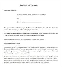 Work Contract Templates Classy Driver Job Contract Template Free Download Employment Contract