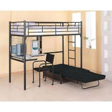 bunk beds desk coaster max twin over futon metal bed with in black finish loft australia