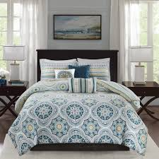 madison park delta navy 6 pieces reversible cotton sateen printed duvet cover set comforter insert