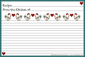 Recipe Cards Print Free Printable Recipe Cards Country Clipart By Lisa