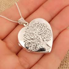 details about extra large 925 sterling silver tree of life heart photo locket pendant necklace