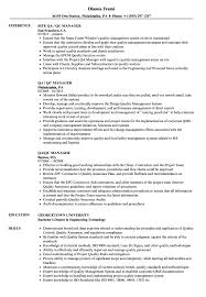 Qa Qc Manager Resume Samples Velvet Jobs