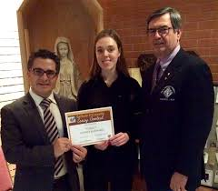 students win top honours in knights of columbus essay writing contest grade 12 winner julianna mcedwards from st thomas more vice principal charlie