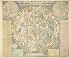 Old Astronomy Star Map 2 North Hemisphere 18th Century