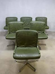 green leather office chair. Vintage Office Chair With Olive Green Leather R