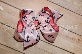Sassy Sweet Designs Ssd Navy Anchor Satin Boutique Hair Bow Bling Sassy Sweet