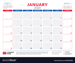 2020 monthly planner template january 2020 calendar planner stationery design
