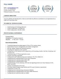 Ccna Cv Voip Resume Samples Top 4 Templates For Beginner Experienced