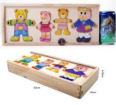 72pcs set cartoon diy wooden bear locker jigsaw puzzle toy set kids dressing clothes puzzle board