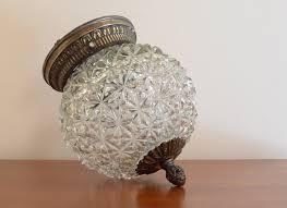 vintage ceiling lamp gorgeous light fixture diamond cut glass globe w antique bronze