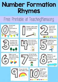Number Formation Rhymes Educational Ideas For Kids Worksheets ...