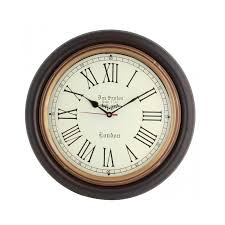wood colour 16 inch classic vintage wall clock double tap to zoom