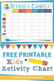 Activity Chart Kids Kids Activity Chart Free Printable Printable Activities