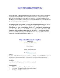 A Curriculum Vitae For Students How Write Student Resume 2 Cv