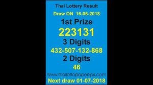 Online Thailand Lottery Live Draw Result June Today 16 06 2018 | Lottery  results, Lottery, Today result