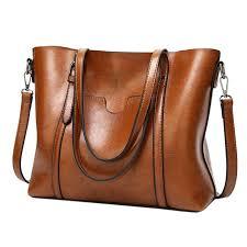 thetoyshedllc women handbags oil wax leather shoulder bag top handle satchel big capacity handbags purse messenger tote bag com