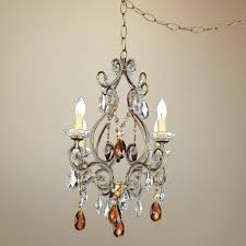 amber gold finish swag plugin chandelier with plug in hanging crystal lighting