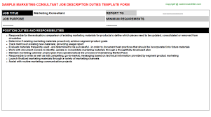 Duties Of A Marketing Consultant Marketing Consultant Job Title Career Templates Downloads
