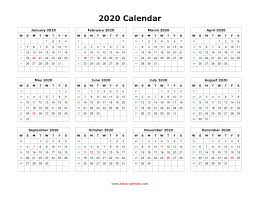 One Sheet Calendar 2020 Download Blank Calendar 2020 12 Months On One Page Horizontal