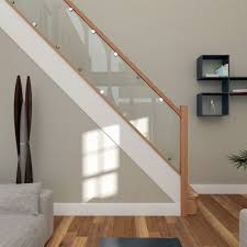 ... Railing Stairs, Stair Banisters Glass Staircase Price List Straight Stair  Design With Light Wood Steps Light ...