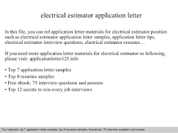 Electrical Estimator Resumes Electrical Estimator Application Letter