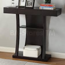 furniture black wooden console table having wooden drawer plus curvy black wooden base on laminate
