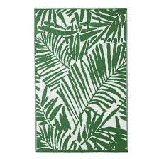 qatalpa palm leaf outdoor rug green white la redoute interieurs la redoute